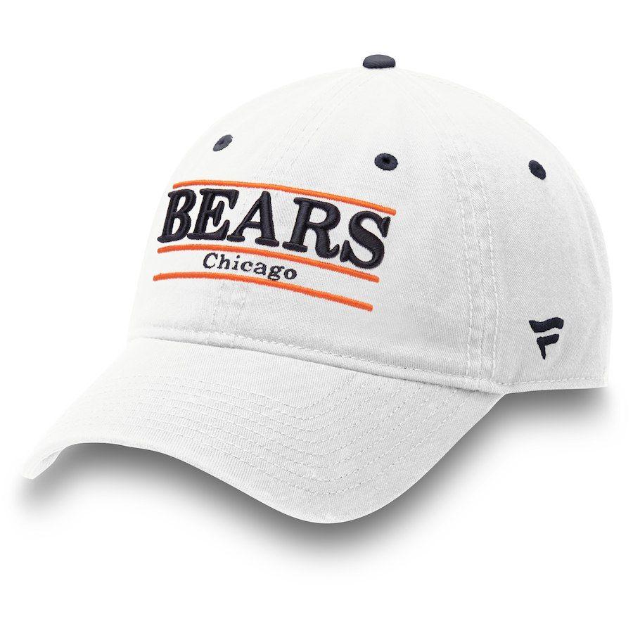 1946e1d16 Men s Chicago Bears NFL Pro Line by Fanatics Branded White Classic Bar Adjustable  Hat