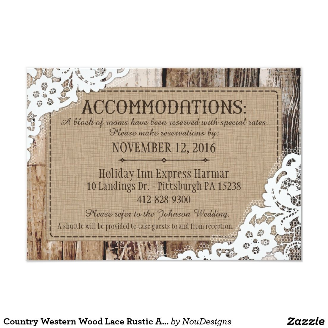 Country Western Wood Lace Rustic Accommodations Card