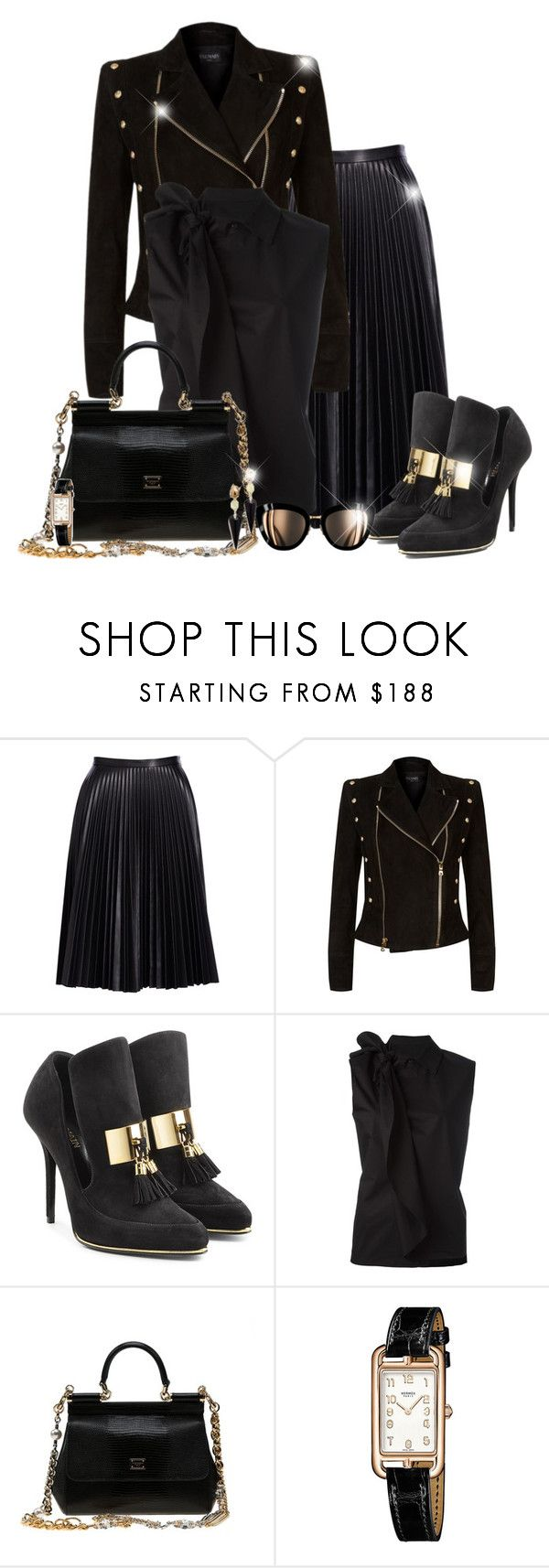"""""""All black"""" by asia-12 ❤ liked on Polyvore featuring Cusp by Neiman Marcus, Balmain, MM6 Maison Margiela, Dolce&Gabbana, Hermès and Alexis Bittar"""