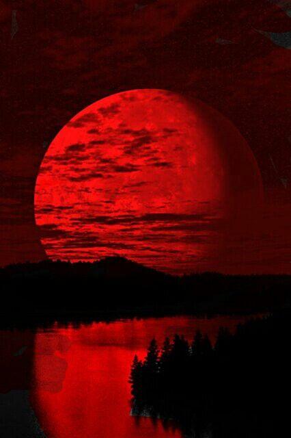 Dark Red Wallpaper Red Moon Red Art Anime wallpaper red moon