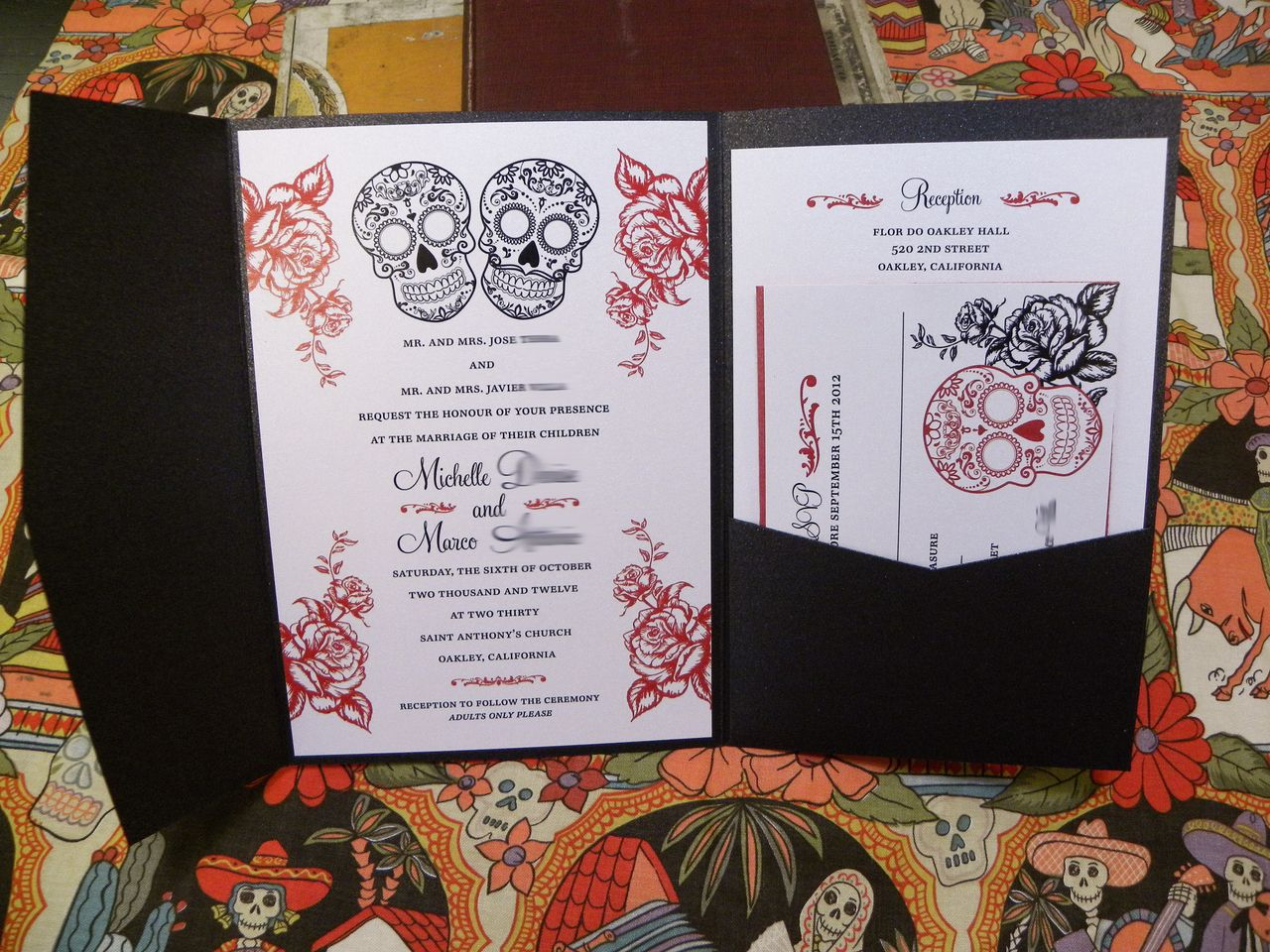 Day Of The Dead Pocket Wedding Invitations   Mexican Sugar Candy Skull Dia  De Los Muertos In Red U0026 Black Or Any Colors   Pocket Folder   By Citlali ...