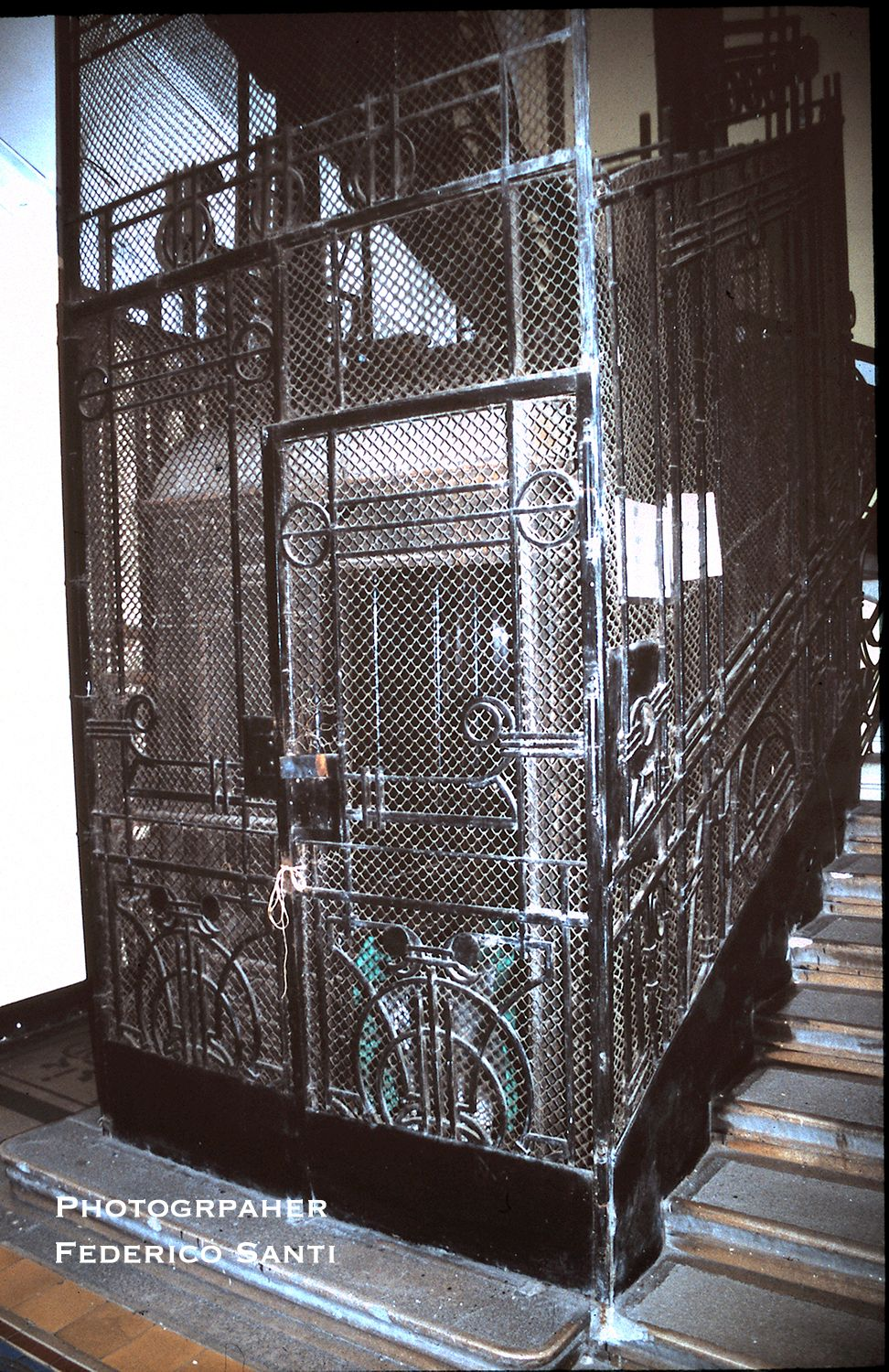 Elevator 'cage' surround from a Budapest Hungary apartment building. Circa 1900