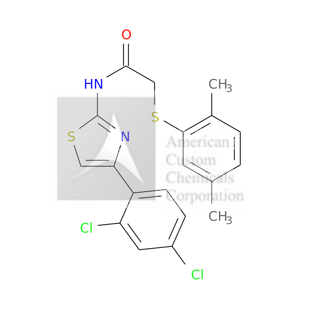N-[4-(2,4-DICHLOROPHENYL)-1,3-THIAZOL-2-YL]-2-[(2,5-DIMETHYLPHENYL)SULFANYL]ACETAMIDE is now  available at ACC Corporation