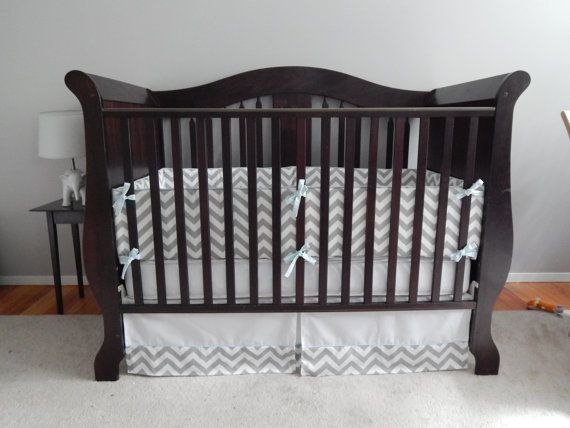 Crib Bumper with Piping and Fabric Tiesmade with NuFoam