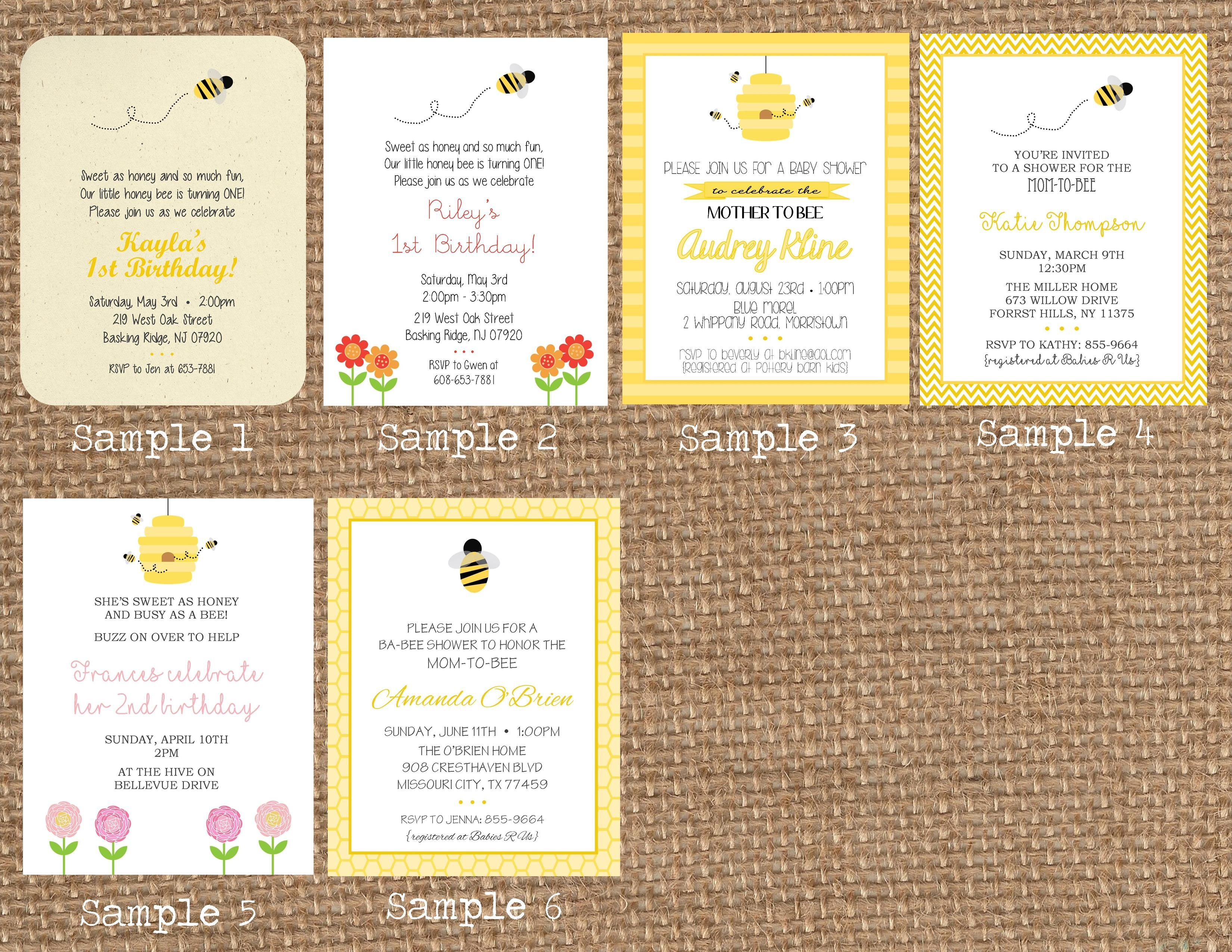 Bee Invitation, Bee + Flowers Invitation, Bee Hive Invitation, Queen Bee Invitation, Bee Good Invitation, Bee Happy Invitation: https://www.etsy.com/listing/176992292/honey-bee-flowers-bee-good-birthday-baby?ref=listing-shop-header-1