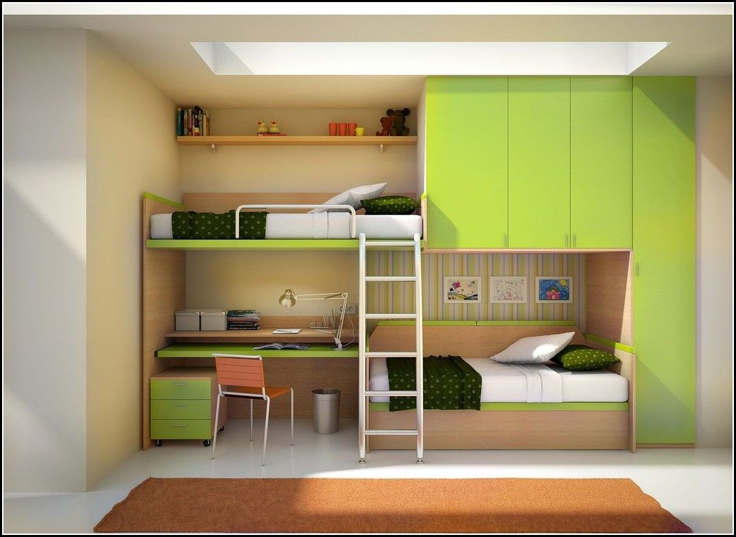 Wooden loft bed with desk  Green And Cream Solid Wood Twin Bunk Bed With Wardrobe Amd Desk Also