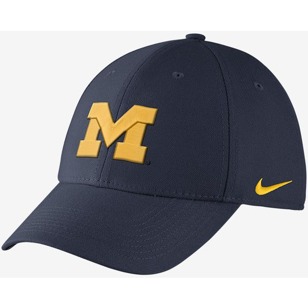Nike College Dri-FIT Wool Swoosh Flex (Michigan) Fitted Hat . Nike.com ($28) ❤ liked on Polyvore featuring accessories, hats, wool hat, nike hat, dri fit hat, nike and fitted hats