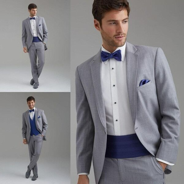2016 Customized Light Grey Tuxedo Wedding Suit For Groom Jacket Pants Tie Merbund Tuxedos Best Mens