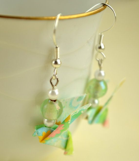 Green Origami Earrings Paper Bird Dove by JustFolds on Etsy, $7.00