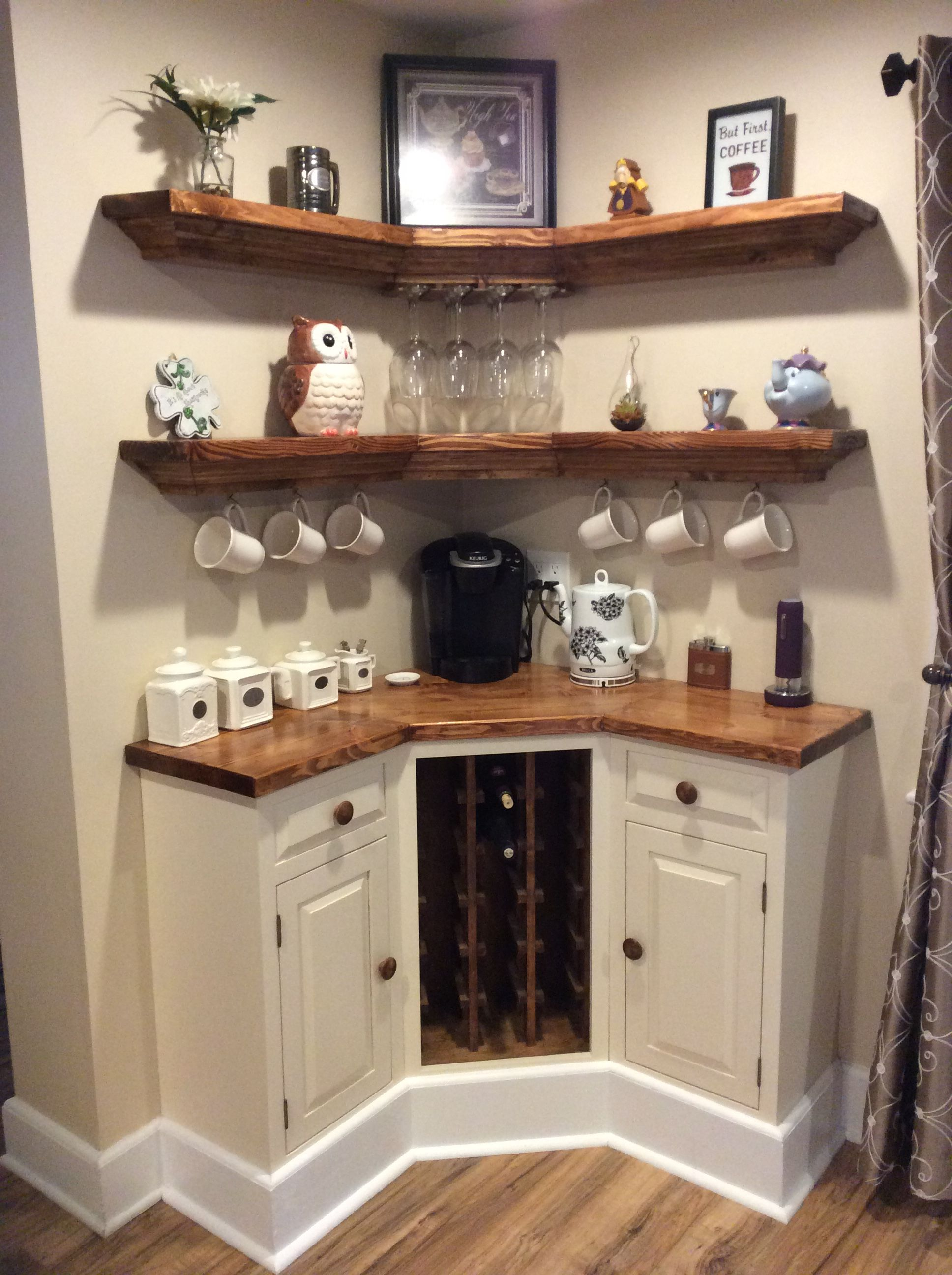 Built In Corner Coffee Wine Bar Home Decor Home Diy Home Coffee Stations