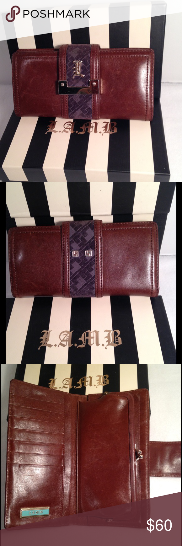 L.A.M.B. Clutch Wallet🌺 Luxurious wallet designed by Gwen Stefani. Genuine leather. Goldtone hardware. Striped interior. Many compartments for organization. Authentic and smokefree. Great condition with some preowned wear as pictured & some hardware scratches. No box. Please review all photos carefully and ask any questions prior to purchase.💋 L.A.M.B. Bags Wallets