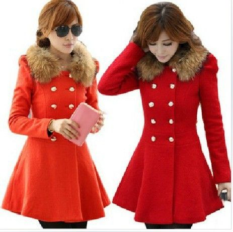 Free Shipping! Black and Red Wool Blend Long Pea Coats Women 2013 ...