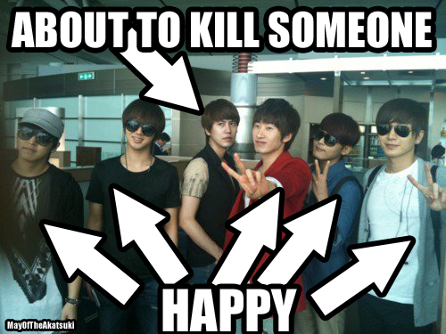 Omw Kyuhyun! why! >Actually, Sungmin doesn't look that happy either. But...he won't kill anyone, right?? (Even if he might have the most physical know how for it!)