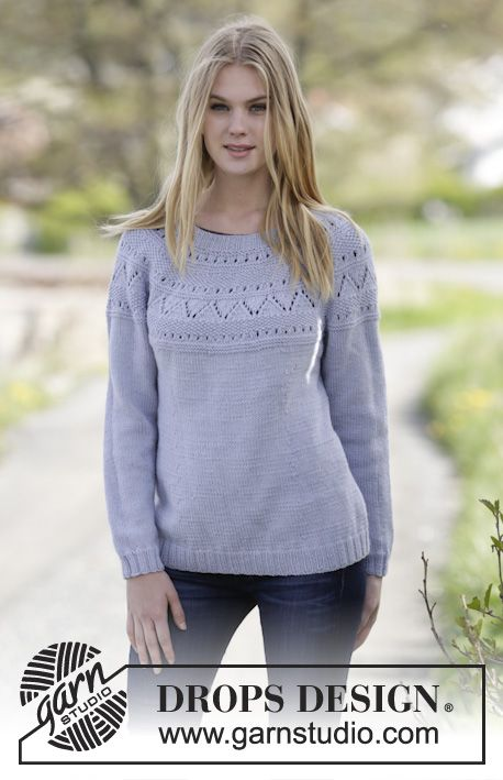 Lovely & Blue - Knitted DROPS jumper with lace pattern, round yoke ...