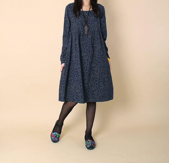 Lovely doll long sleeved tunic dress gown/ Dark blue