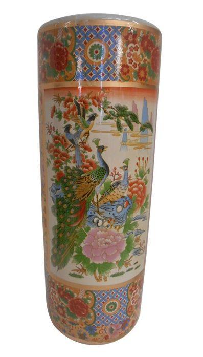 22 Quot H Satsuma Porcelain Umbrella Stand Painted Peacock Porcelain Japanese Vase