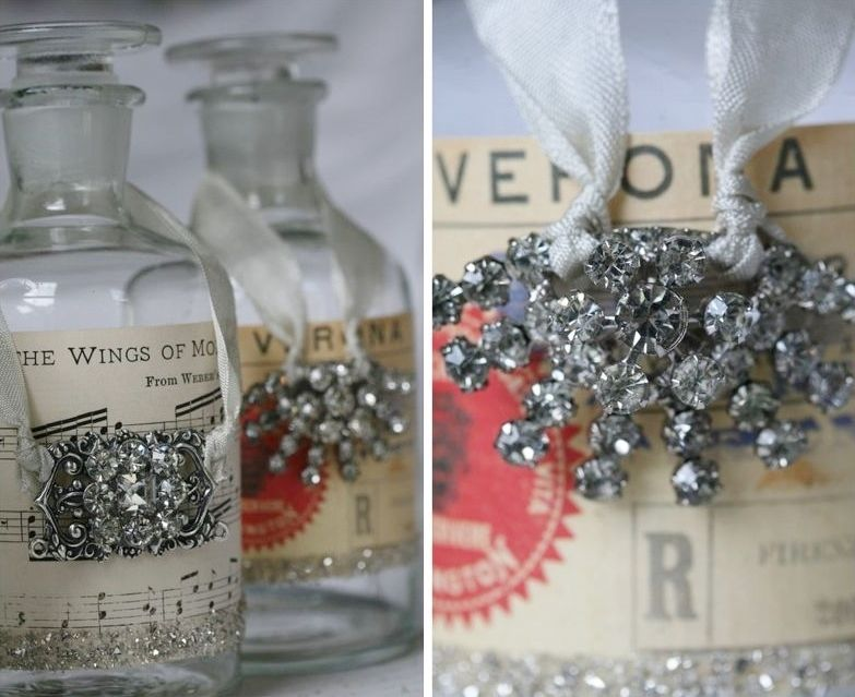 Tie Brooch To Ribbons; Cool Bottle Decorating Idea Too