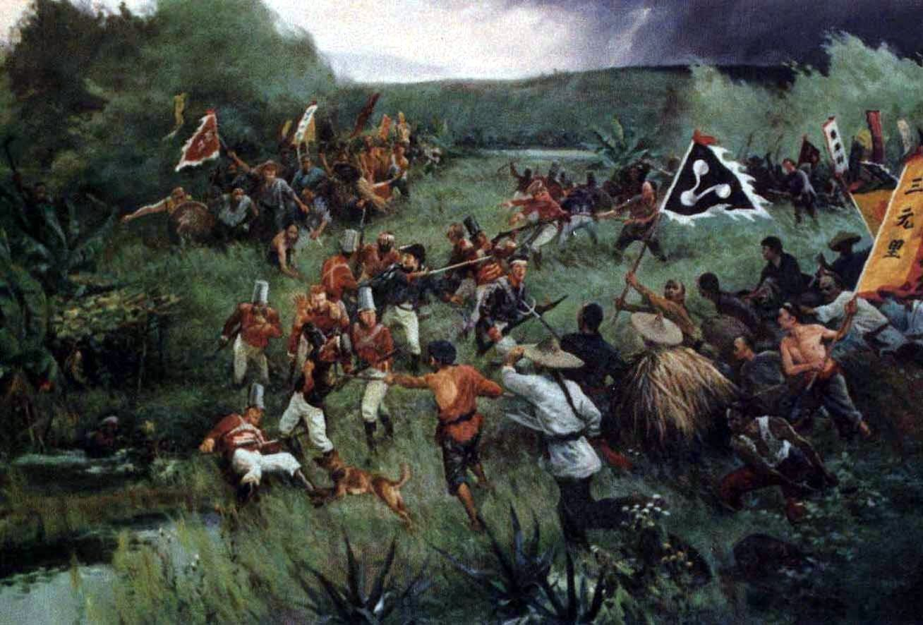 sanyuanli peasants assaulting british infantry opium war opium  sanyuanli peasants assaulting british infantry opium war