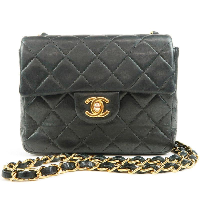 1bbc913fa9d8 Authentic CHANEL Lamb Skin Mini Matelasse Chain Shoulder Bag Black Used F/S