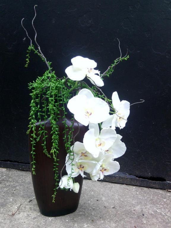 Vase imitation bois orchidee blanc pur real touch luxe for Soldes fleurs artificielles