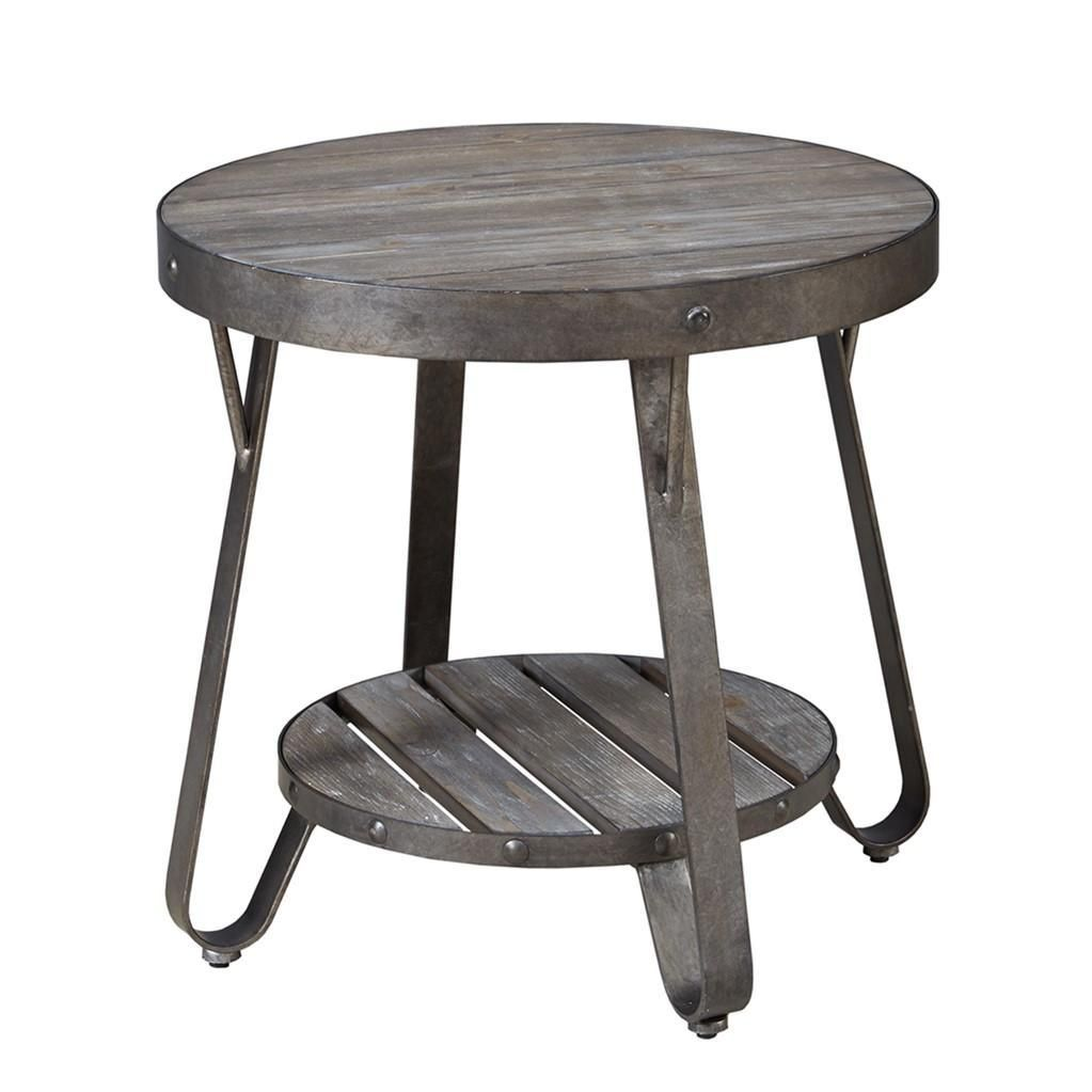 Modern Driftwood Rustic Gray Wood And Metal 24 Inch Round Accent