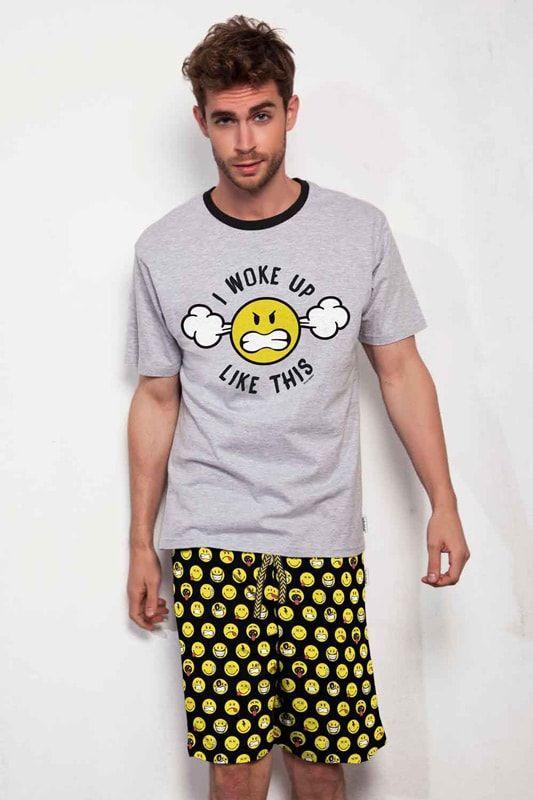 PIJAMA EMOTICONOS SUPERDIVERTIDO para hombre en manga y pantalón corto. EMOTICONOS en diferentes actitudes y muy amarillos. + modelos en varelaintimo.com
