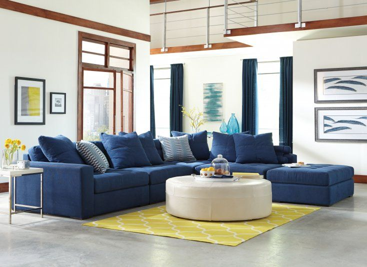 Noah Living Room - Bold and blue the Noah 5-piece sectional is a : jonathan louis sectional - Sectionals, Sofas & Couches