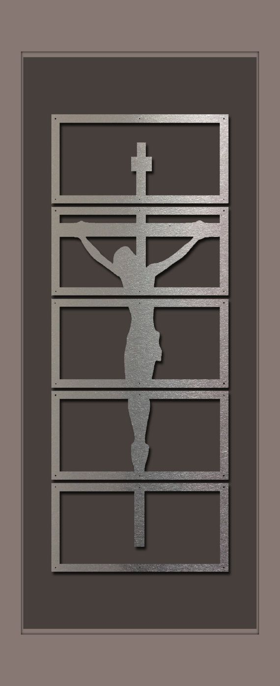 Shadows of christ brushed alluminum extra large art metal wall