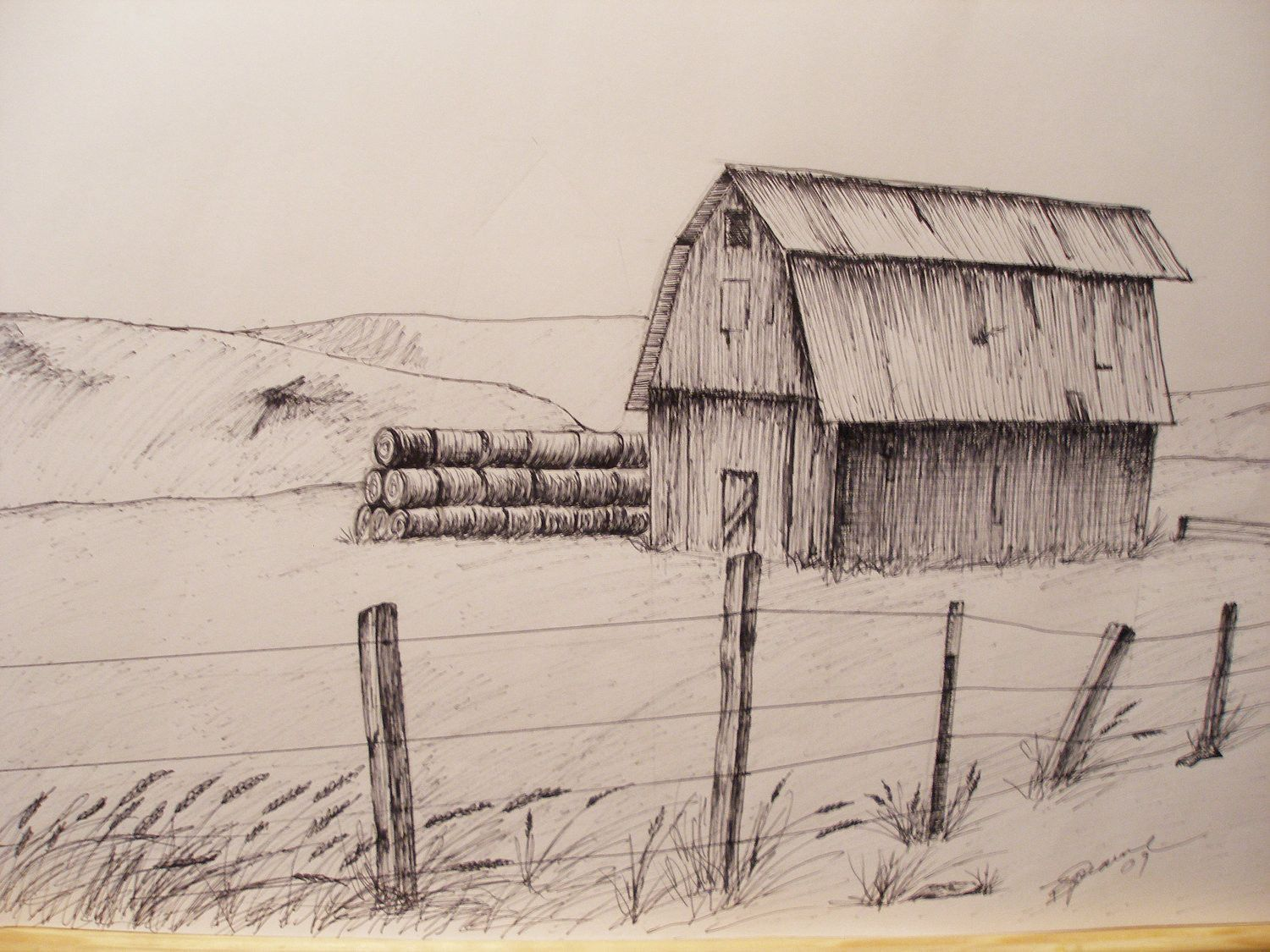 Print pen and ink drawing of oregon hay barn 81 2 hay for Ink drawings easy