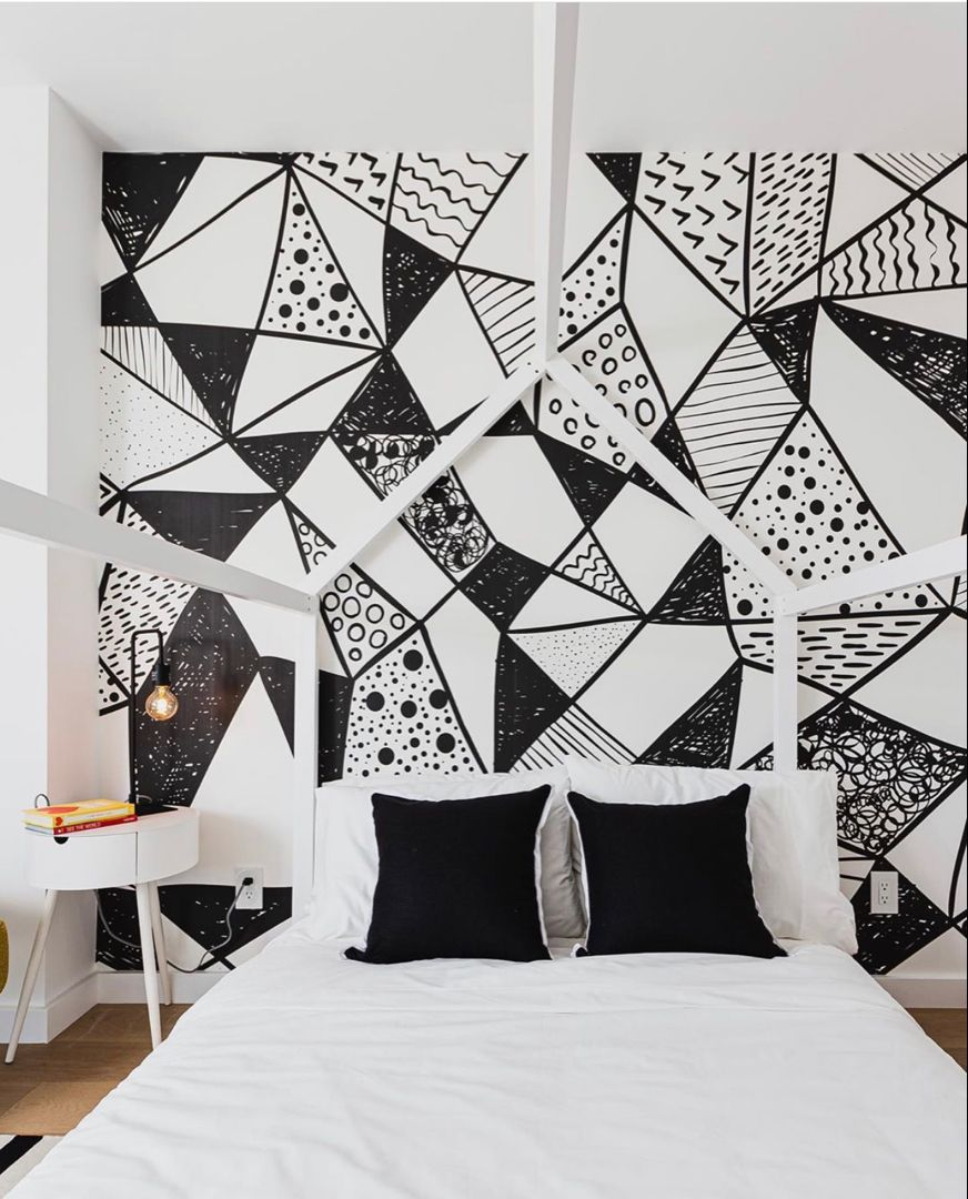 Geometric Shapes Mural In 2021 White Wall Bedroom White Bedroom Decor Black Walls Bedroom