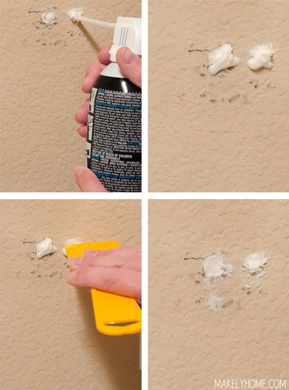How To Repair Small Holes In Textured Drywall Via Makelyhome Use Spray Foam Fix The Size Of A Quarter Or Smaller Clever