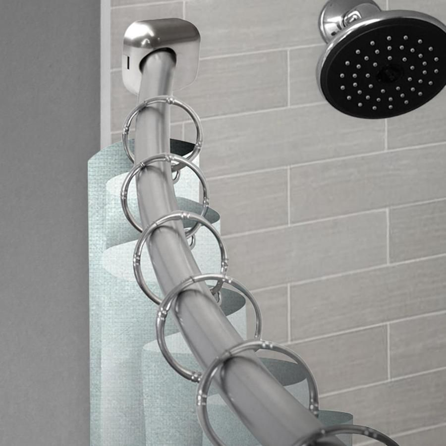 Hart Harlow 1 In Shower 42 In To 72 In Satin Nickel Steel Curved