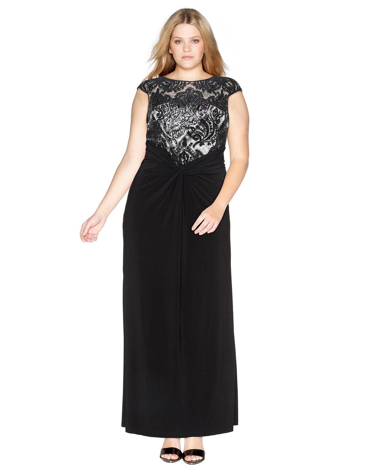 Weise Abendkleid mit Spitze und Drapierung in Schwarz / Silber ...