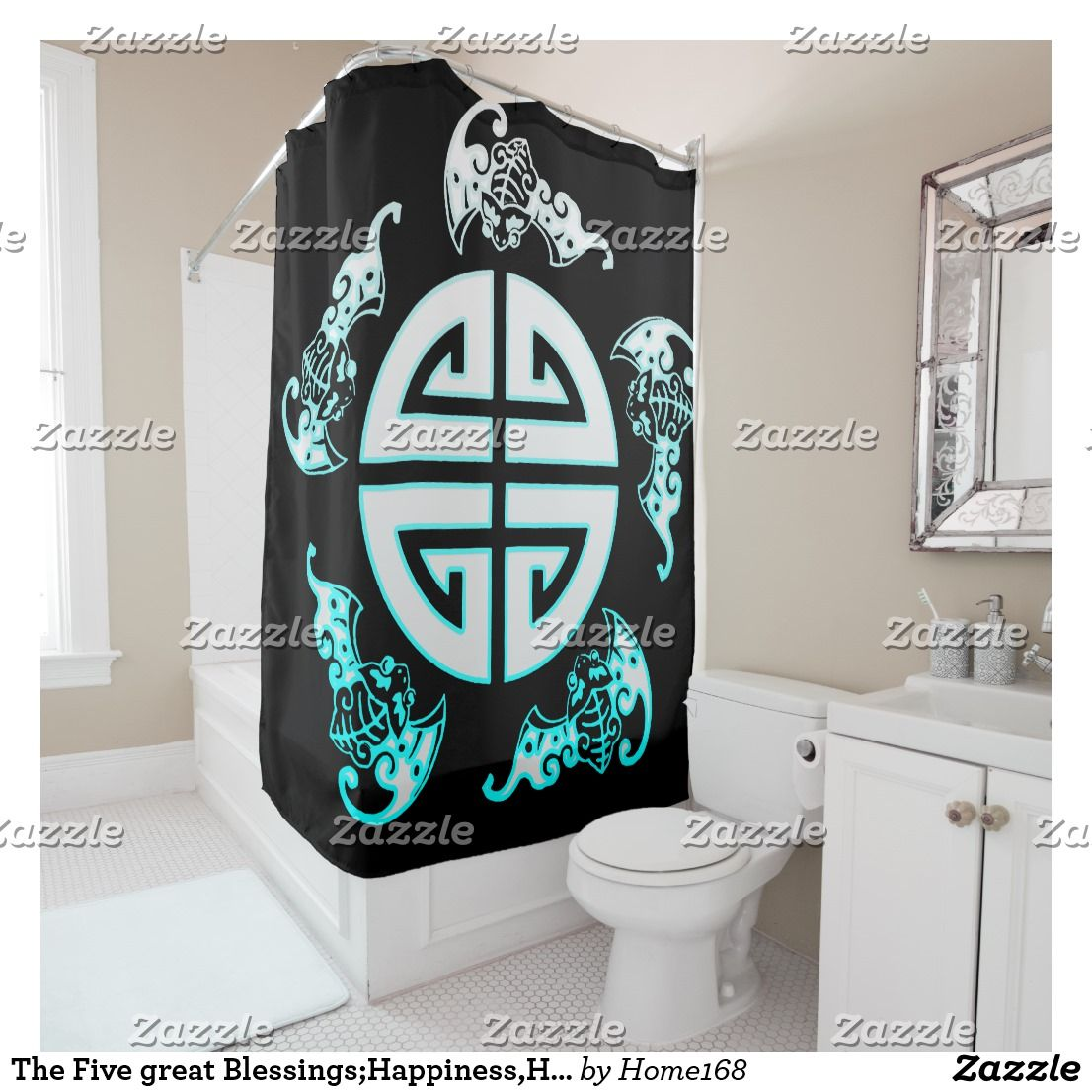 The Five Great Blessings Happiness Health Virtue P Shower Curtain