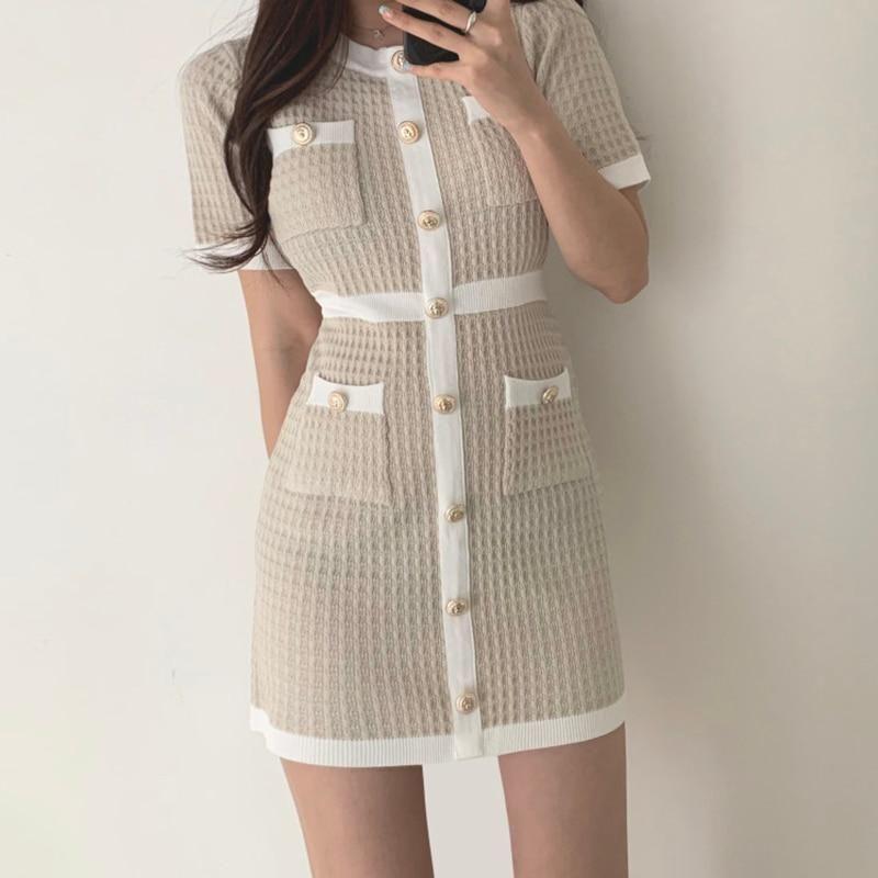 Button Knitted Dress Bodycon Mini Vestido Curto Korean Summer Sexy Party Elegant Black Black Moda Feminina Ropa Mujer 2020 Robes - Beige / One Size