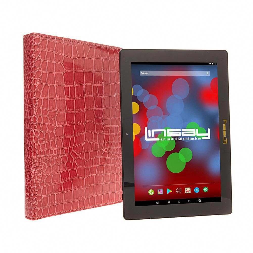 """LINSAY 10.1"""" IPS 16GB QuadCore Android Tablet with"""