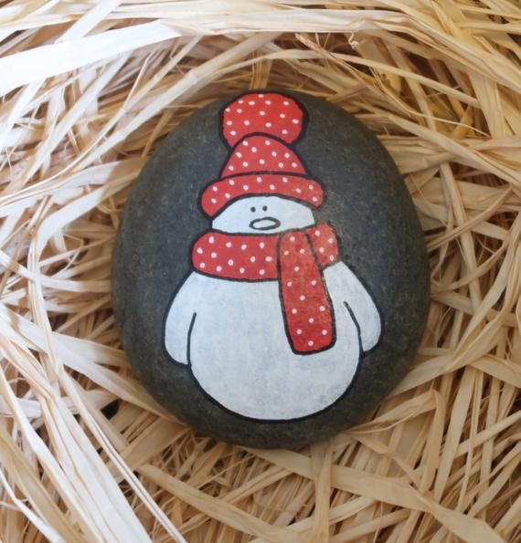 Hand Painted Spotty Snowman Stone