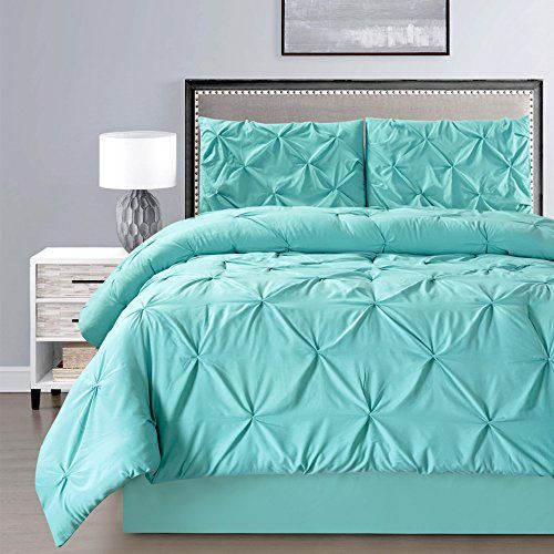 2 Piece Solid Turquoise Blue Pinch Pleat Duvet Cover Set Twin