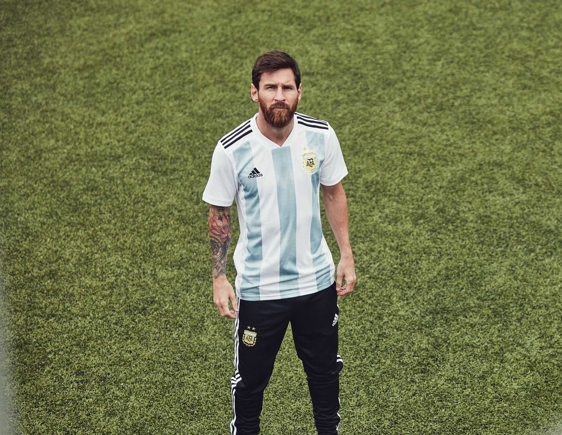 3036517174e The kits might be lighter than ever but Argentina s 2018 World Cup home  shirt will carry a heavy weight of expectation as the Messi-generation  arrives in ...