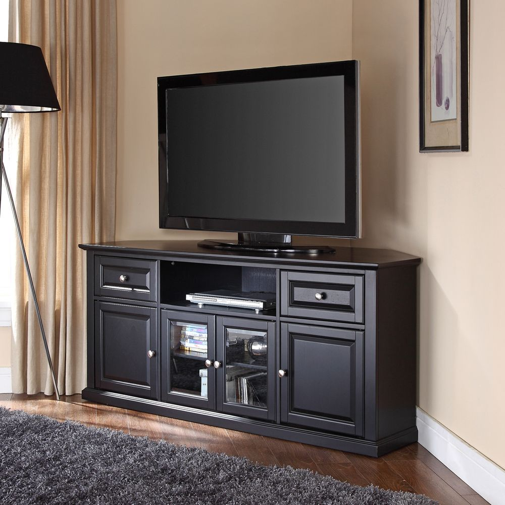 Crosley Furniture 60 Inch Corner Tv Stand In Black Efurniture Mart Corner Tv Stand Corner Tv Stands Tv Stand With Drawers