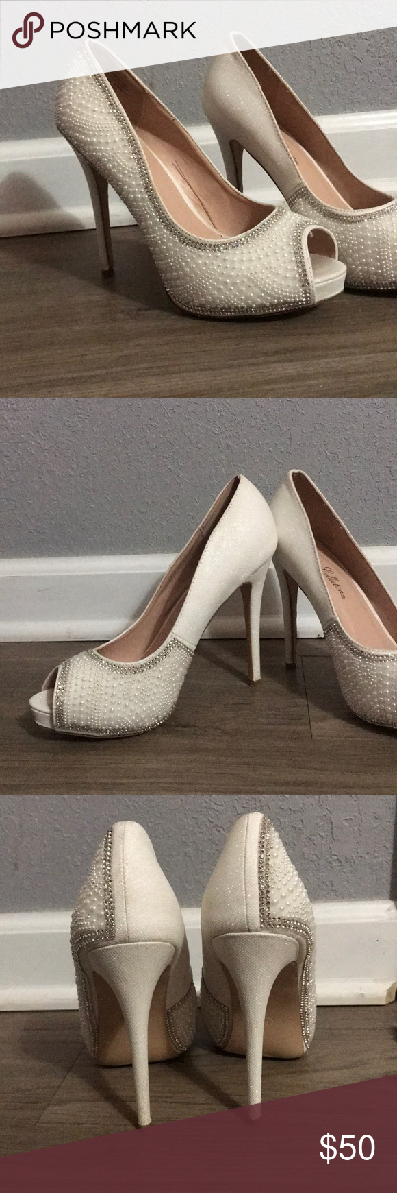 dd02a9bcb99 Bridal   Prom pearl and rhinestone heels De Blossom Collection Pearl    Rhinestone Heels Worn Once