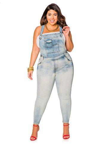 light wash denim skinny overall jumpsuit plus size