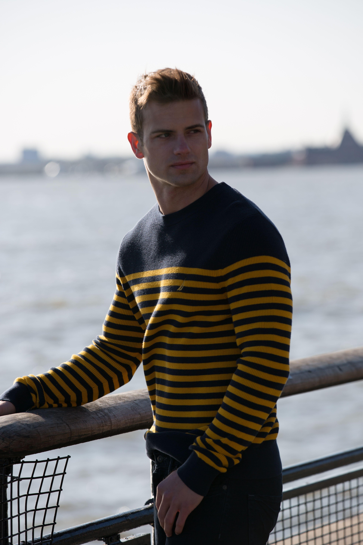 Nautica Long Sleeve Classic Bretton Stripe Sweater