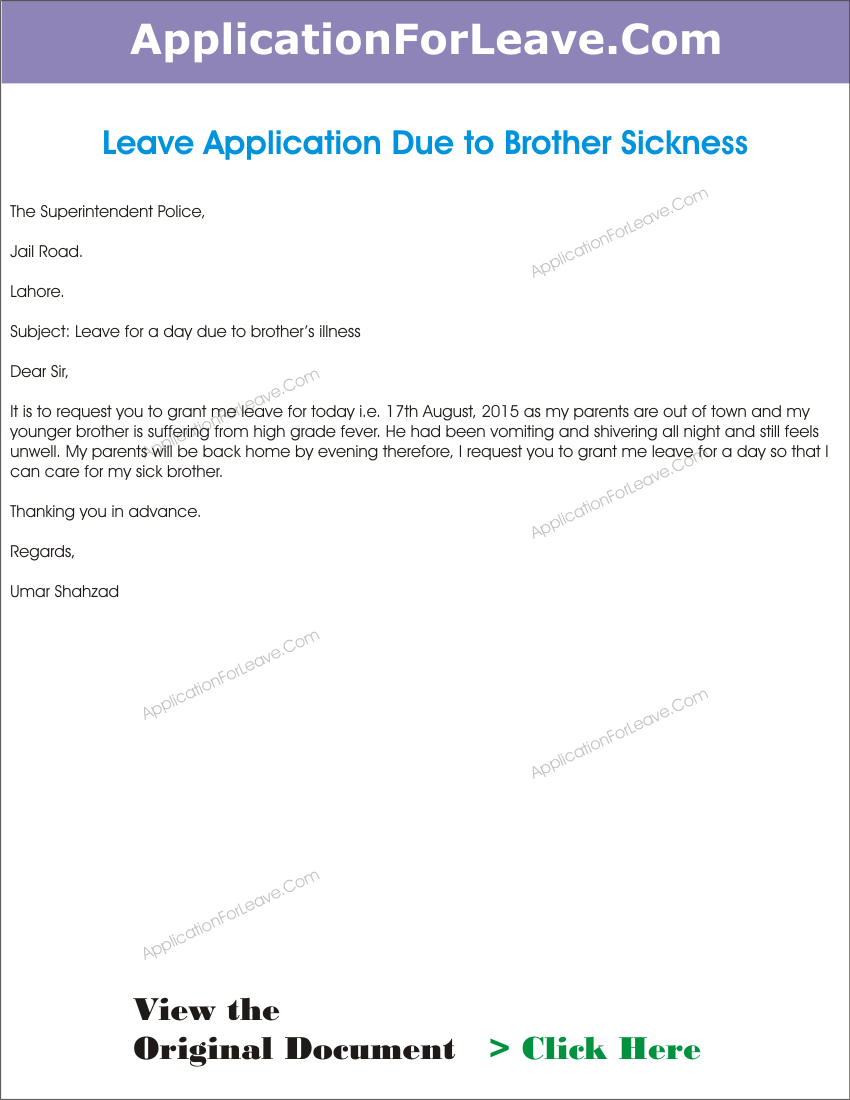leave application for brother illness resignation letter template – Sample Leave Application