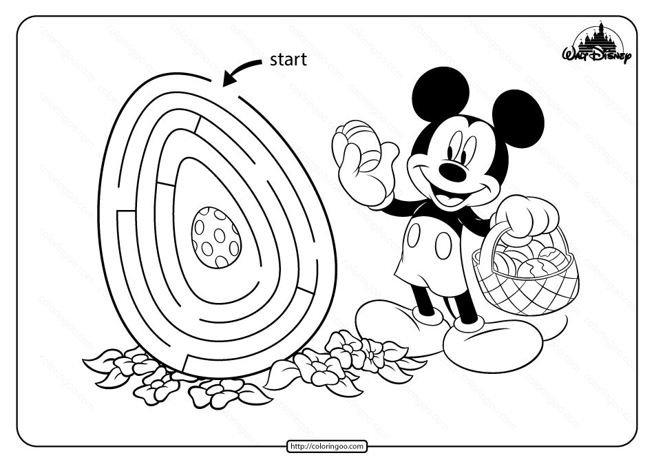 Printable Mickey Mouse Maze Game Coloring Page in 2020