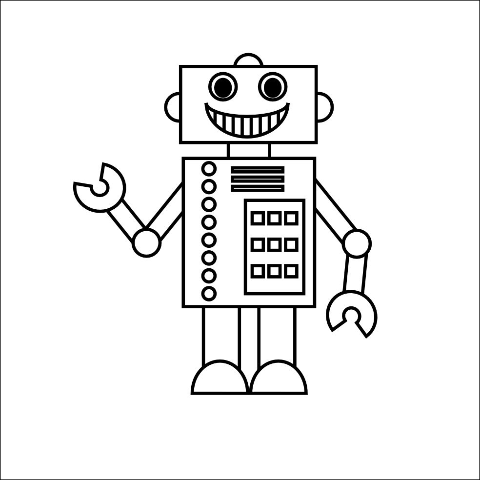 Smarty Pants Fun Printables Printable Robot Coloring Page