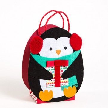 Spruce up a gift bag... Felt Penguin Medium Gift Bag