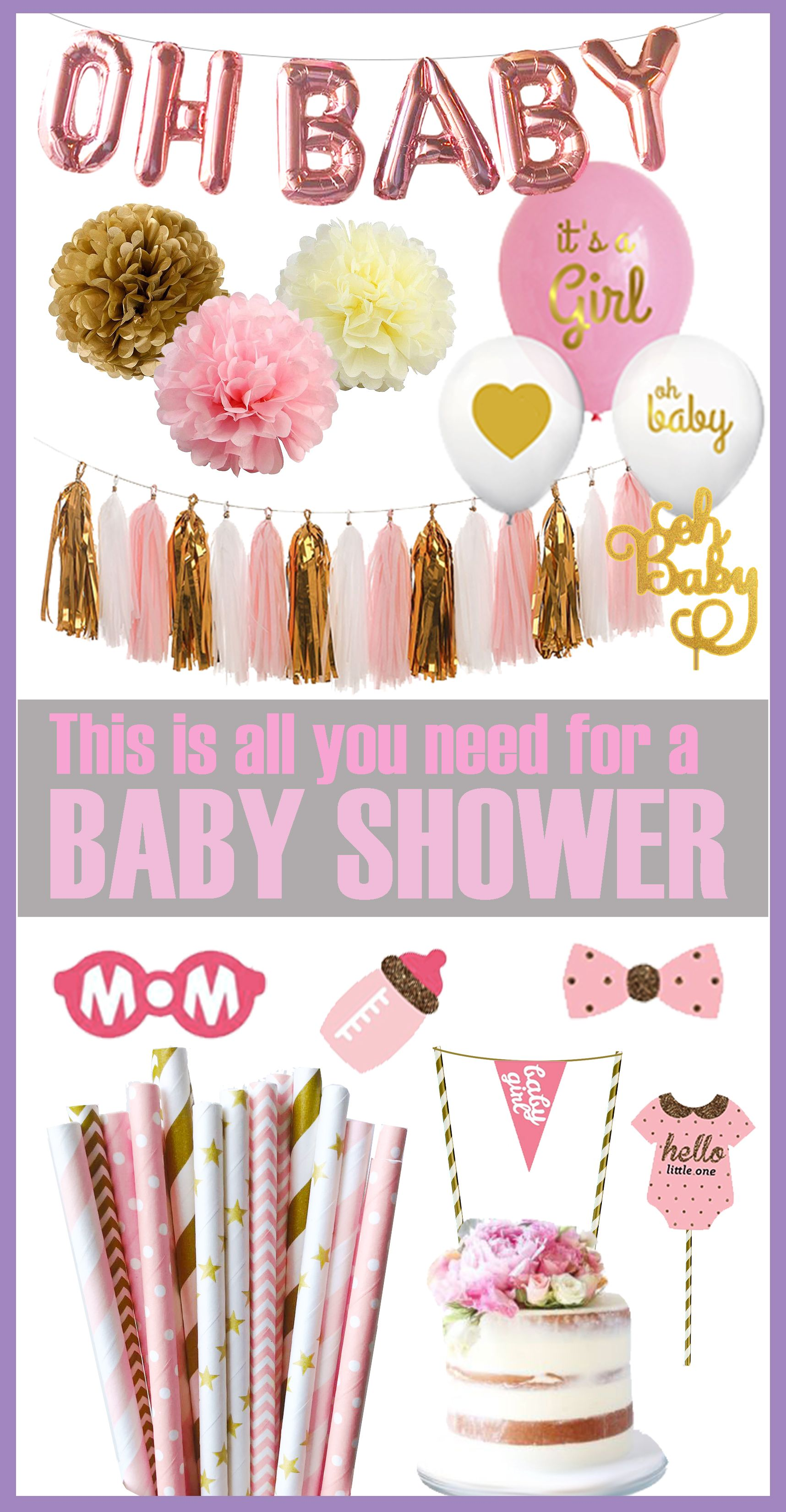 Girl Baby Shower Decorations Ideas Pink And Gold Oh Baby