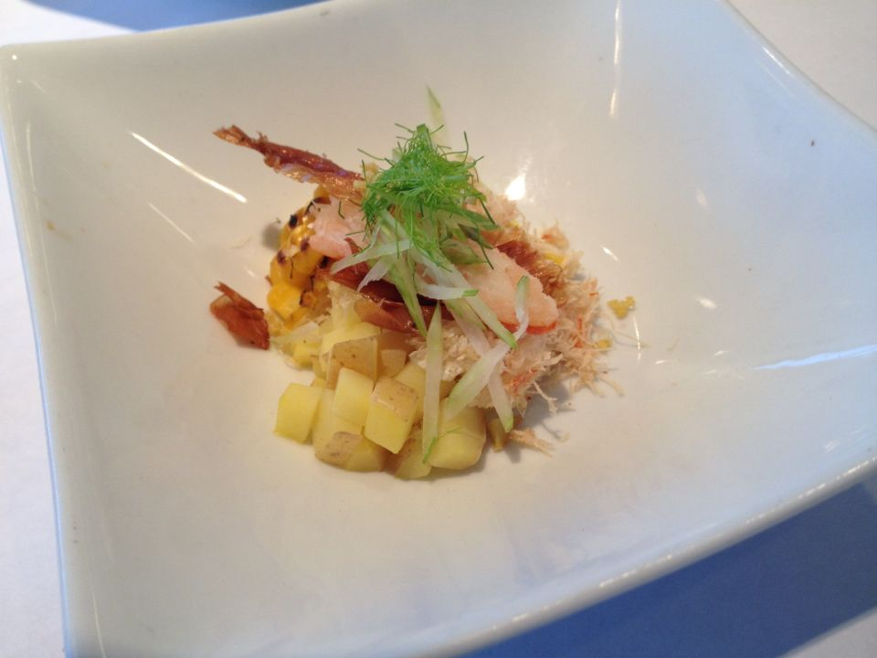 Crab & corn chowder served table side