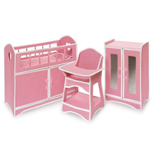 Folding Doll Furniture Set With Storage Crib High Chair And Armoire Kids Pinterest High
